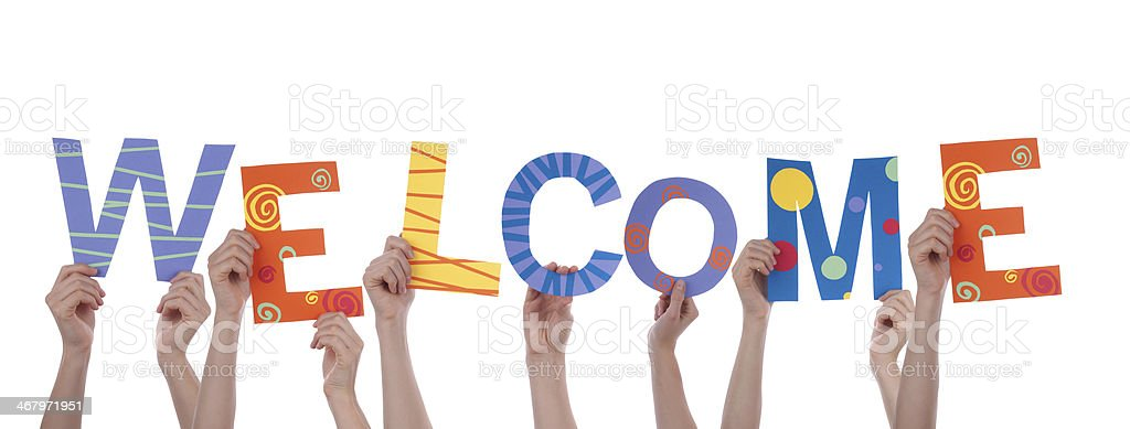 People Holding Welcome stock photo