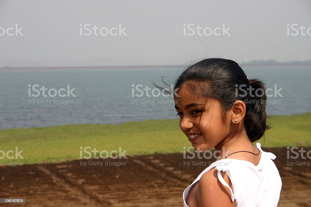 People Horizontal Portrait of Indian charming Sweet Girl Child Kid stock photo