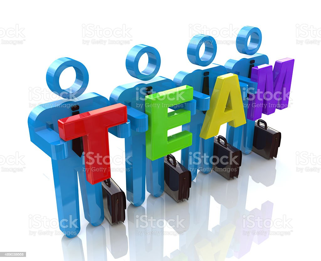 3D people- human character in team - 3d render stock photo