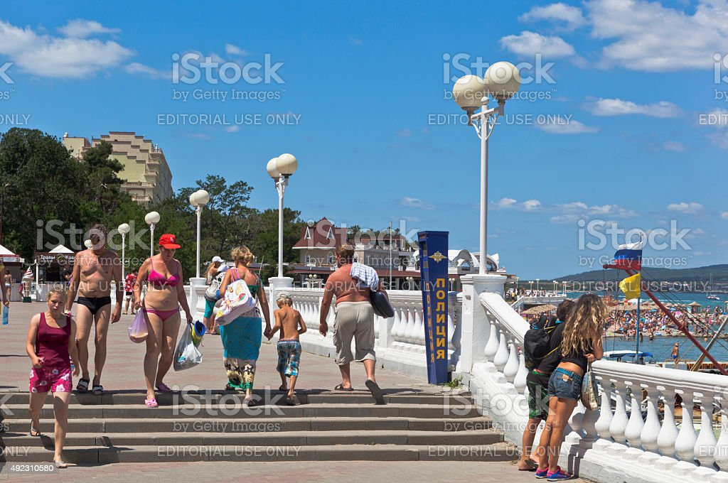 People ignore the ban appear in swimsuit in public places stock photo