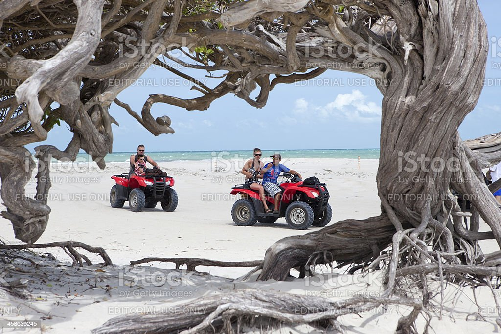 People in a buggie car during an excursion, Jericoacoara, Brazil stock photo