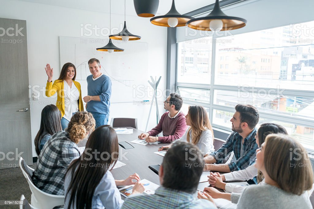 People in a business meeting stock photo