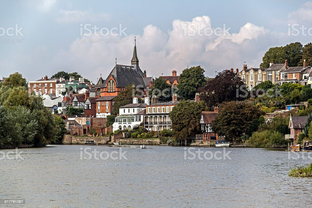 People In A Cano River Dee, Chester stock photo