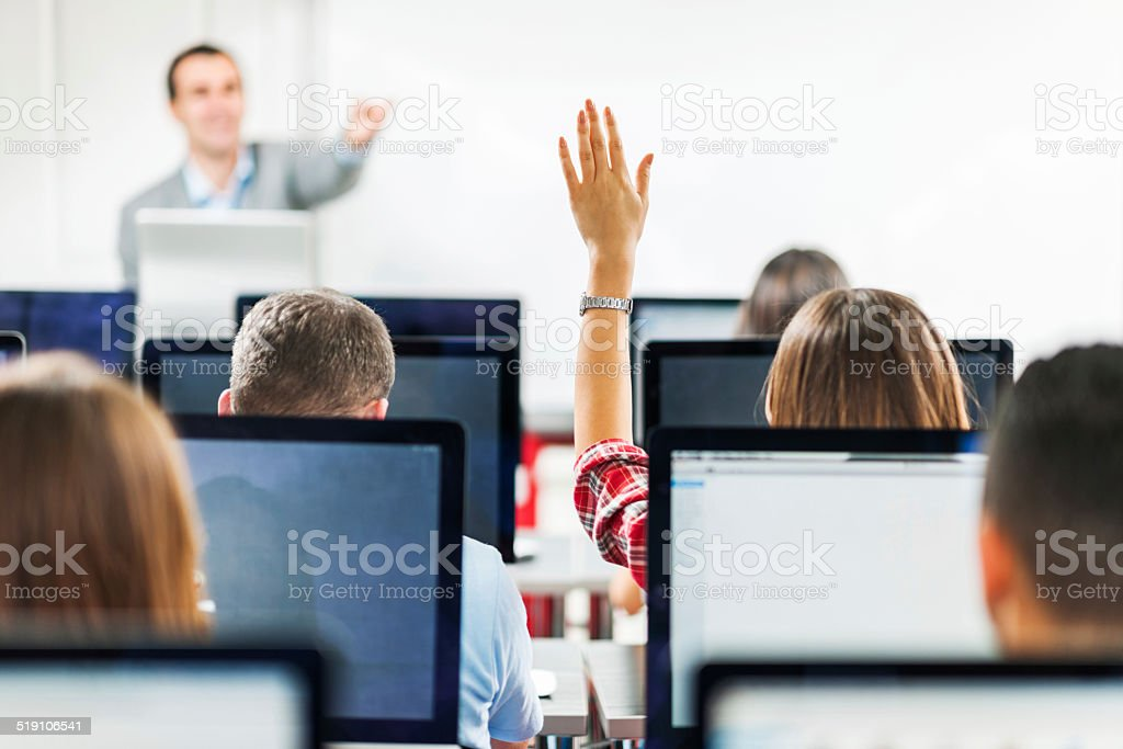People in a computer lab. stock photo