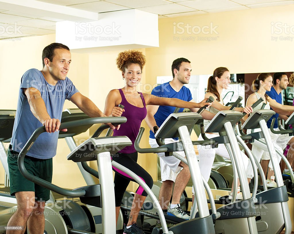 People in a gym. stock photo