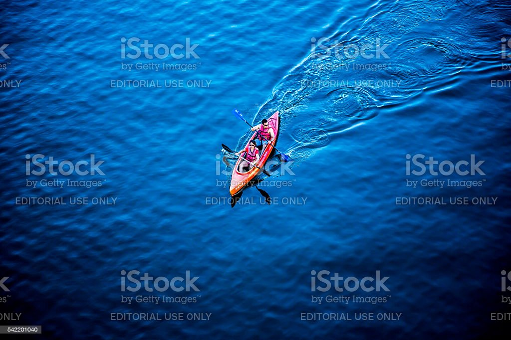 People in a kayak stock photo