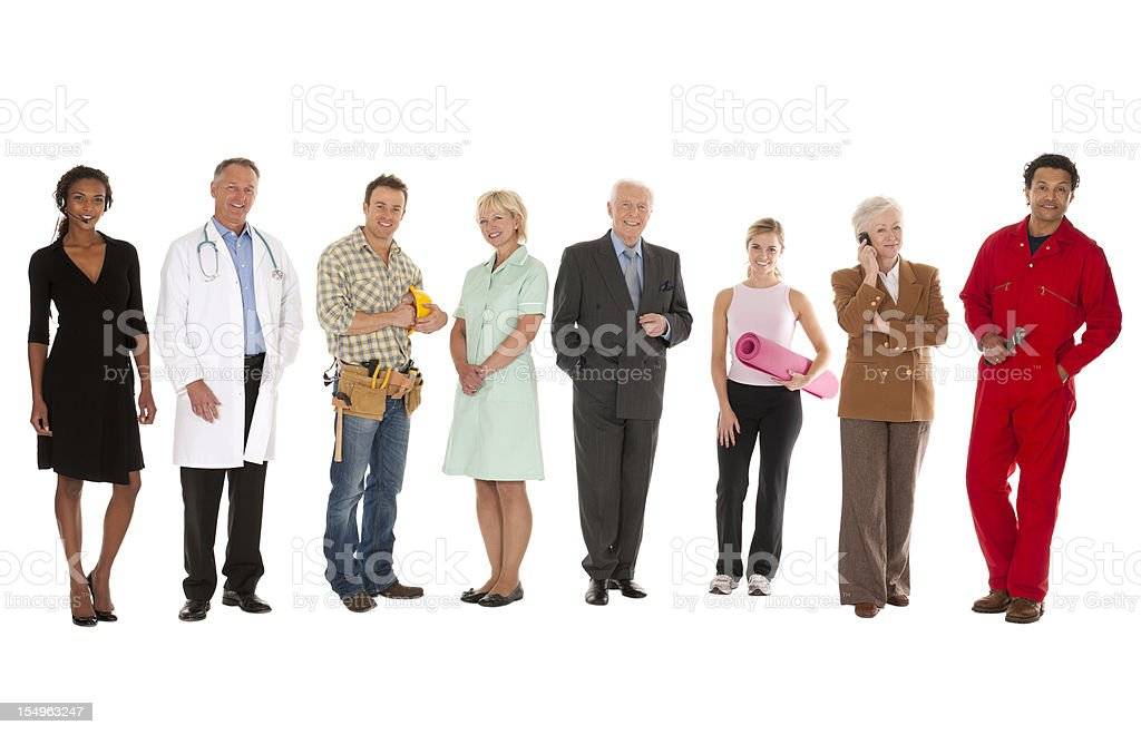 People in a line different occupations royalty-free stock photo
