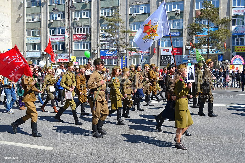 People in a military uniform participate in demonstration in hon stock photo