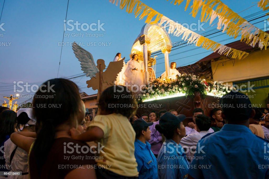 People in a procession in the streets of the city of Leon in Nicaragua during the Easter celebrations stock photo