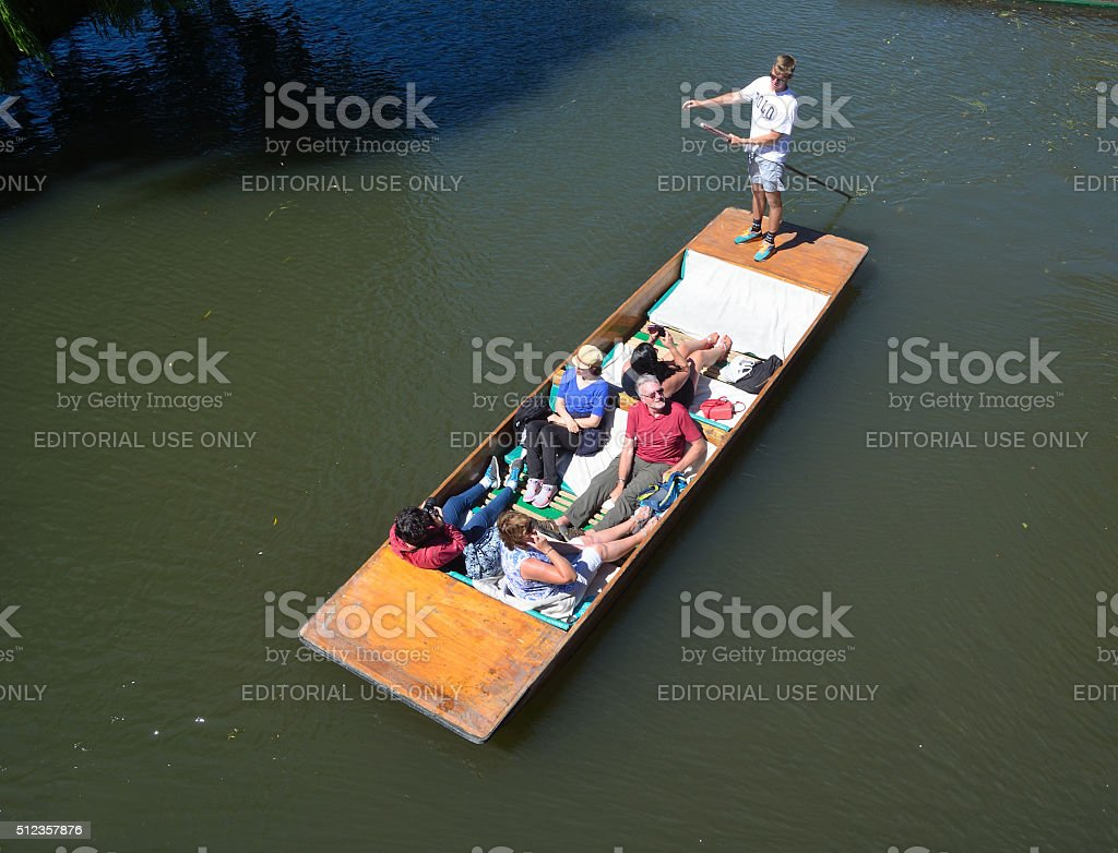 People in a punt on the river Cam stock photo