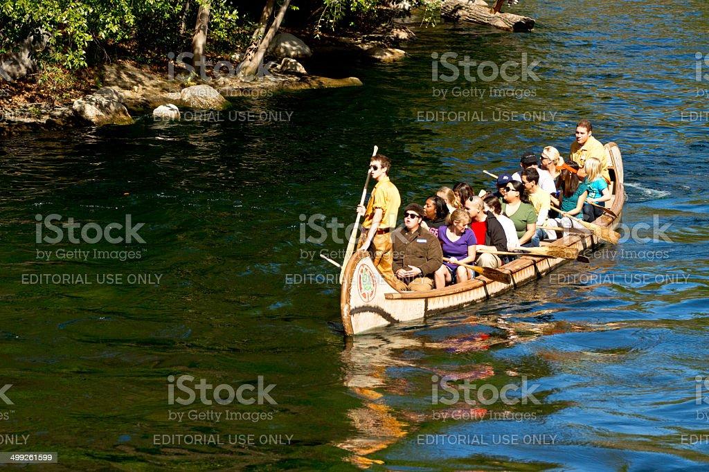 People in a raft in Disneyland california stock photo