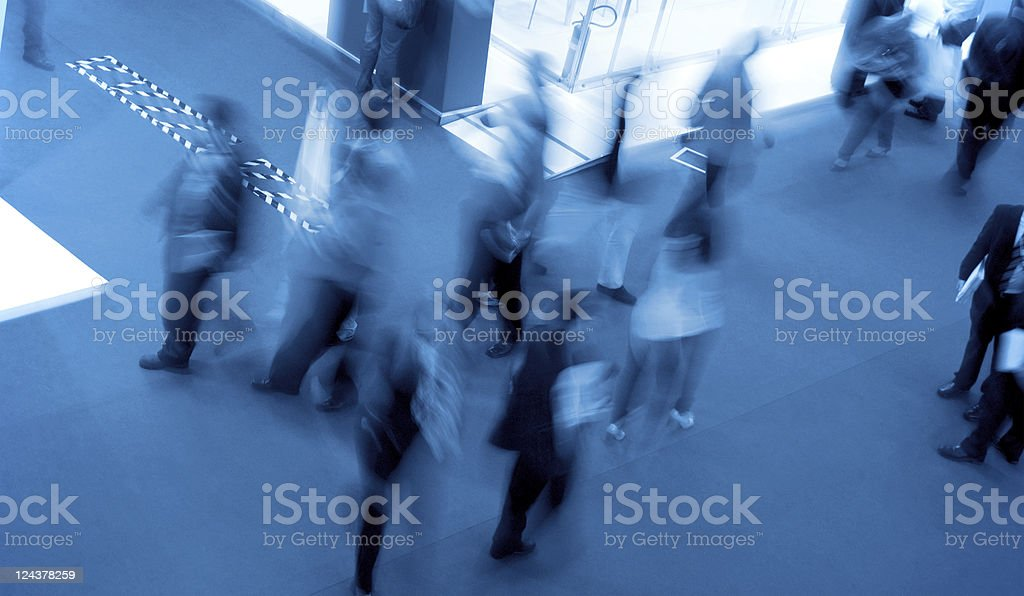 People in a rush stock photo