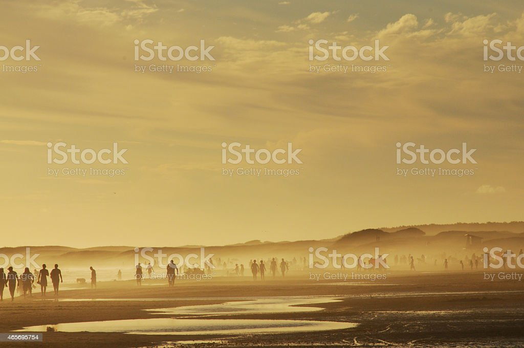 People in a sunset at the beach stock photo
