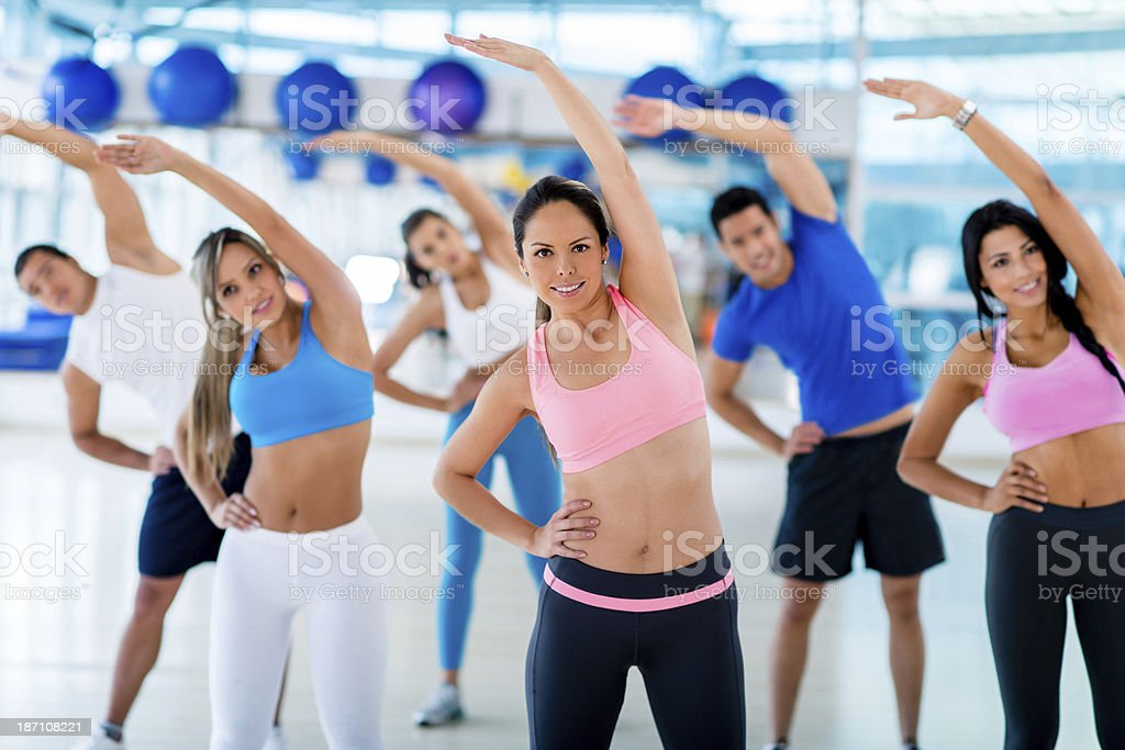 People in aerobics class royalty-free stock photo