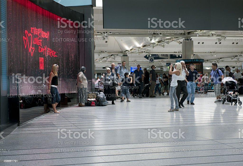 People in Ataturk Airport Istanbul Turkey stock photo