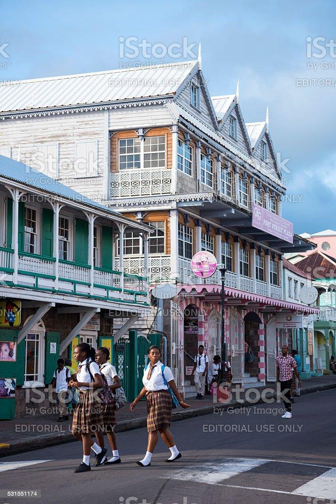 People in Basseterre, Saint Kitts and Nevis stock photo