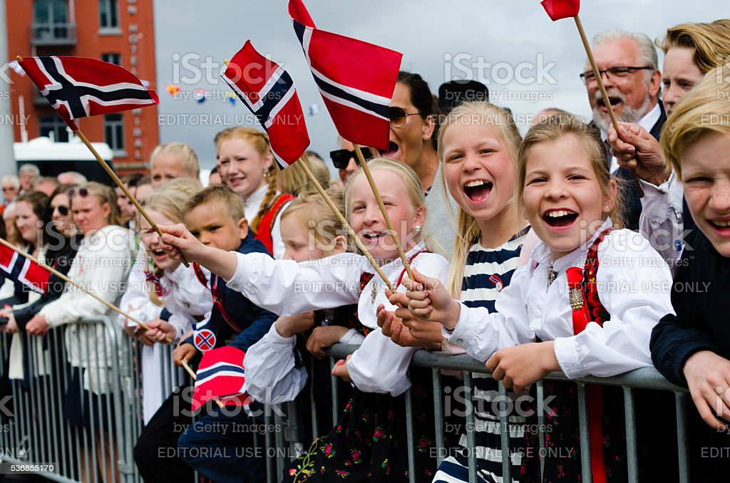 People in Bergen during Constitution Day 17th of May stock photo