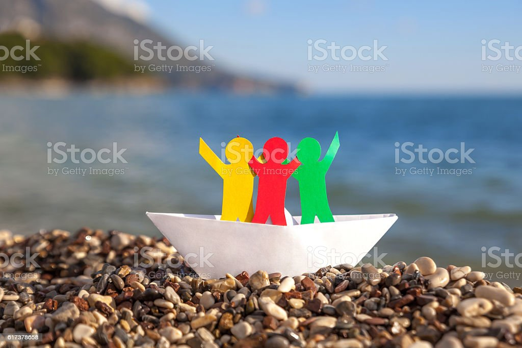 People in boat stock photo