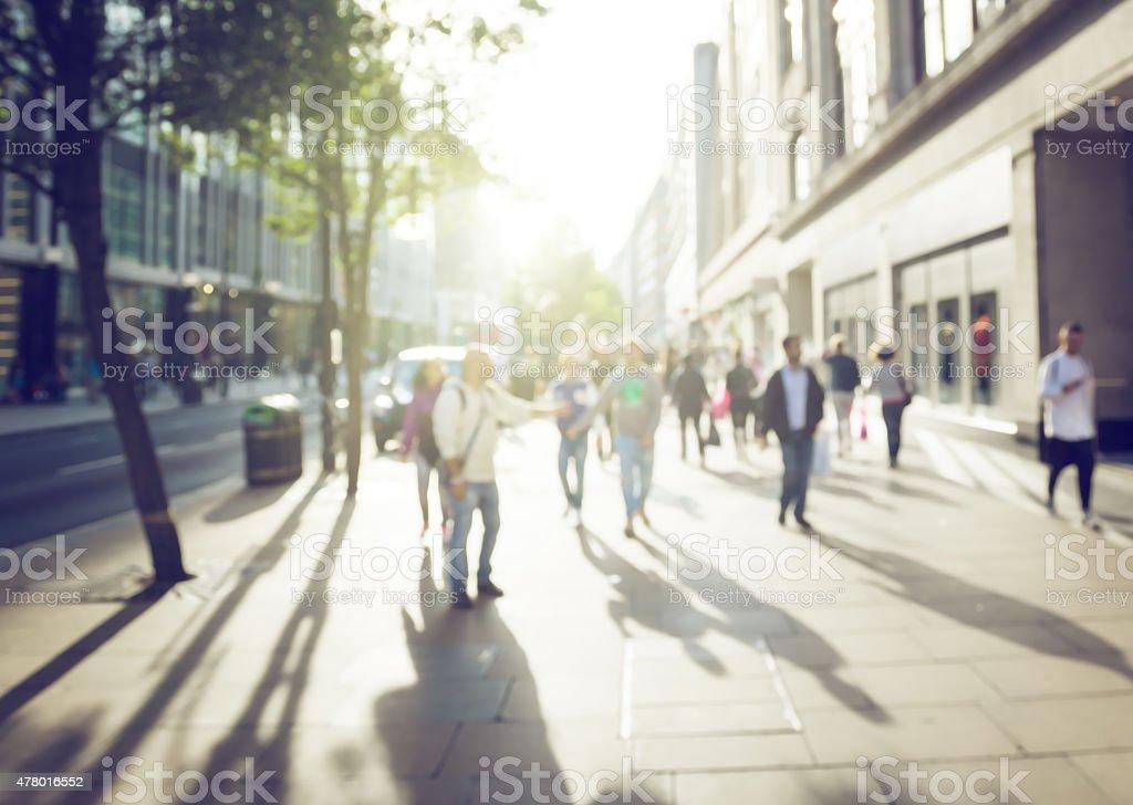 people in bokeh, street of London stock photo