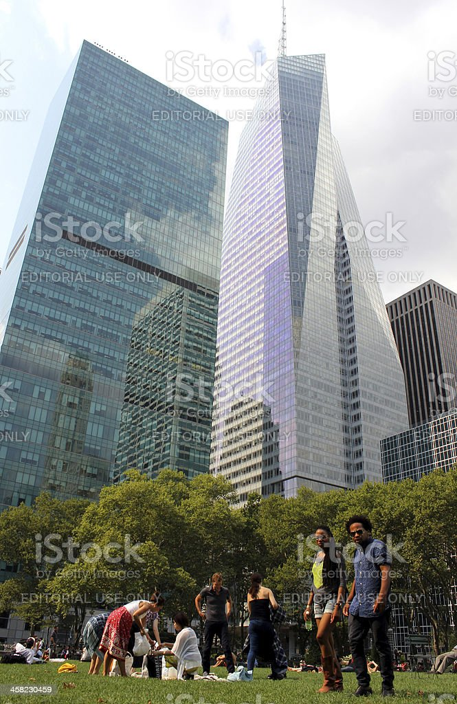 People in Bryant Park, New York City royalty-free stock photo