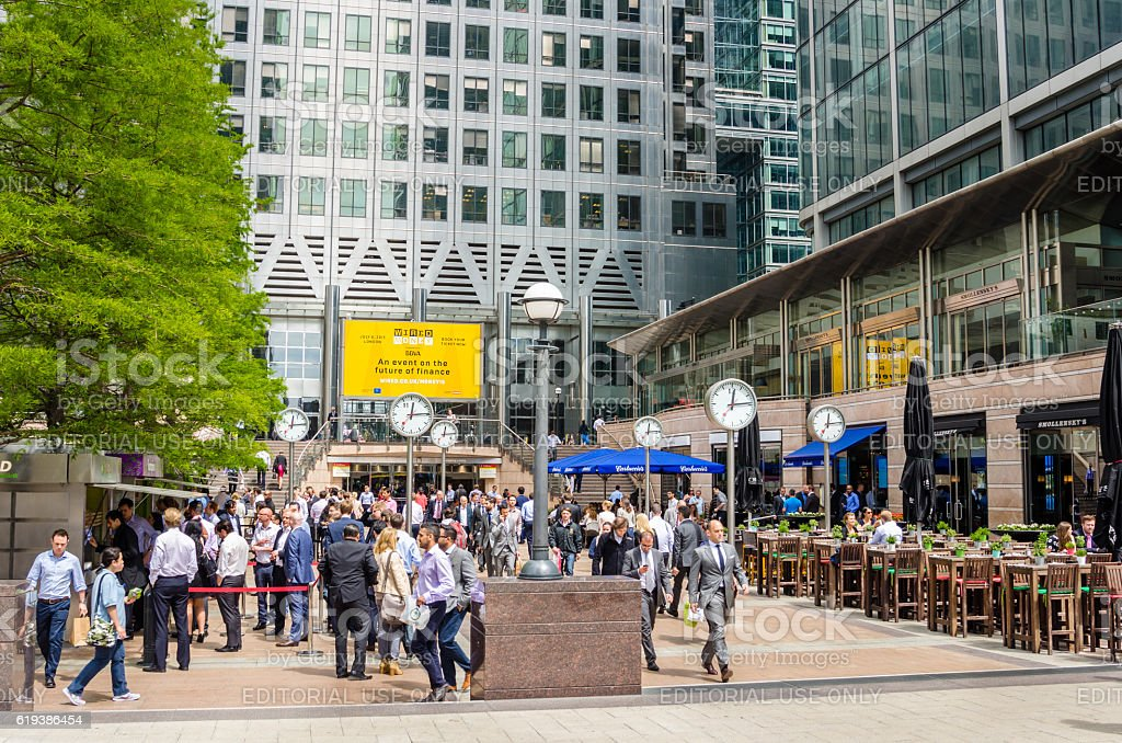 People in Canary Wharf, London, at Lunchtime stock photo