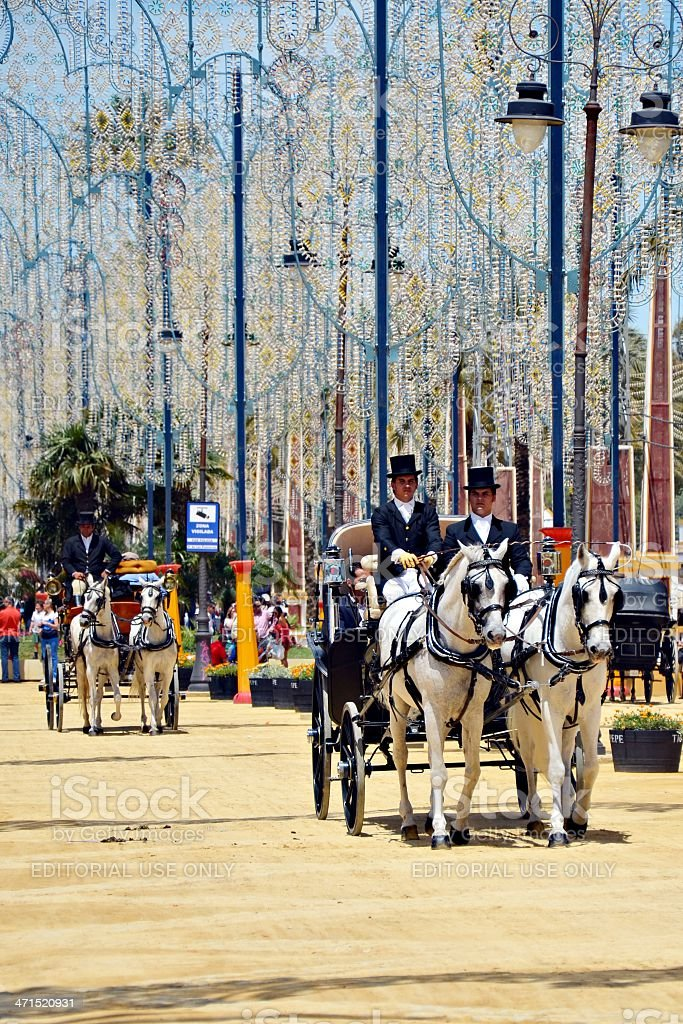People in carriage horses royalty-free stock photo