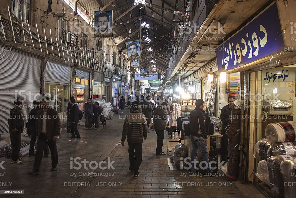 People in central bazaar stock photo