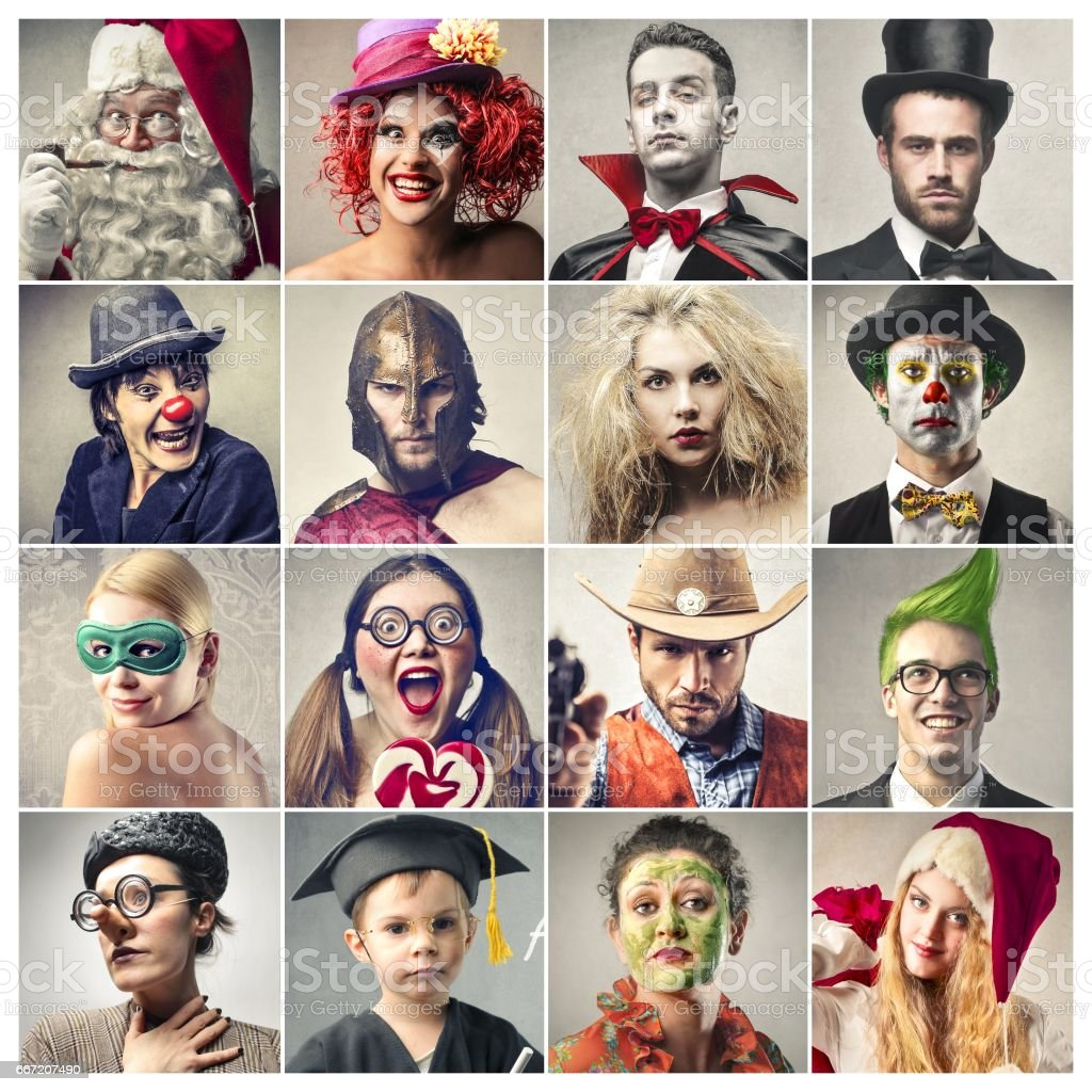 People in costumes stock photo