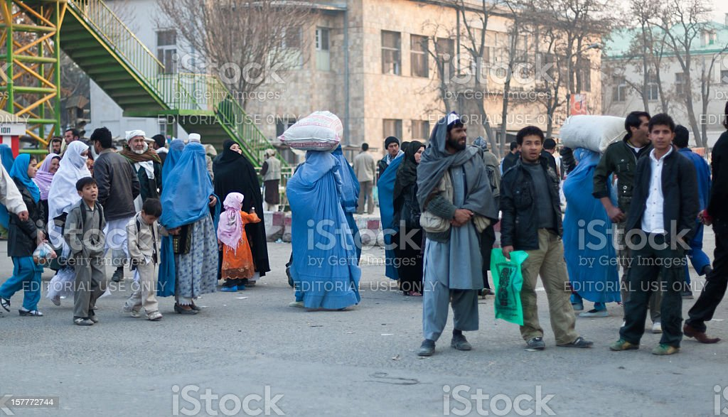 People in downtown Kabul stock photo