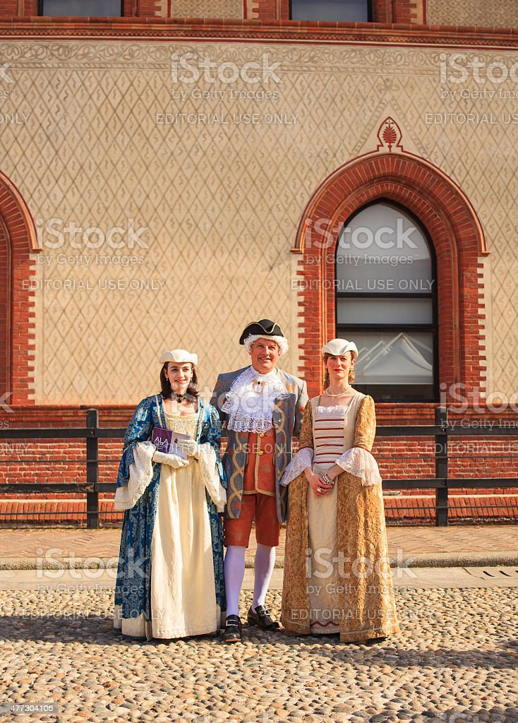 People in eighteenth century clothes stock photo