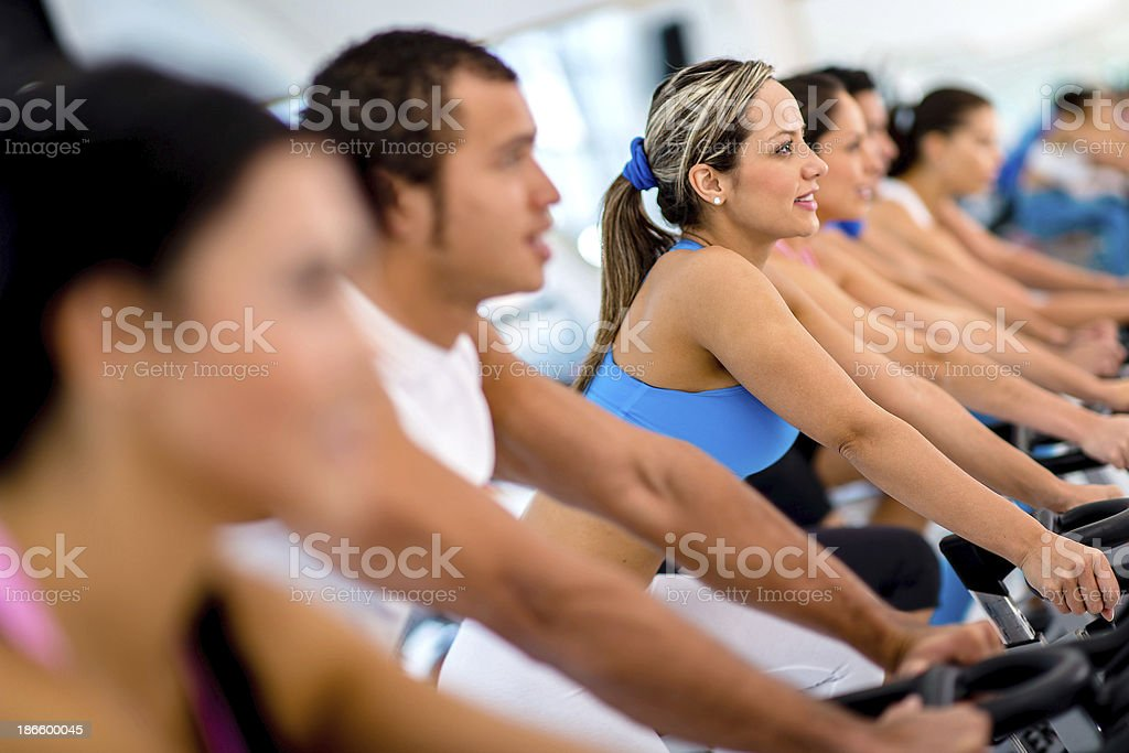 People in spinning class royalty-free stock photo
