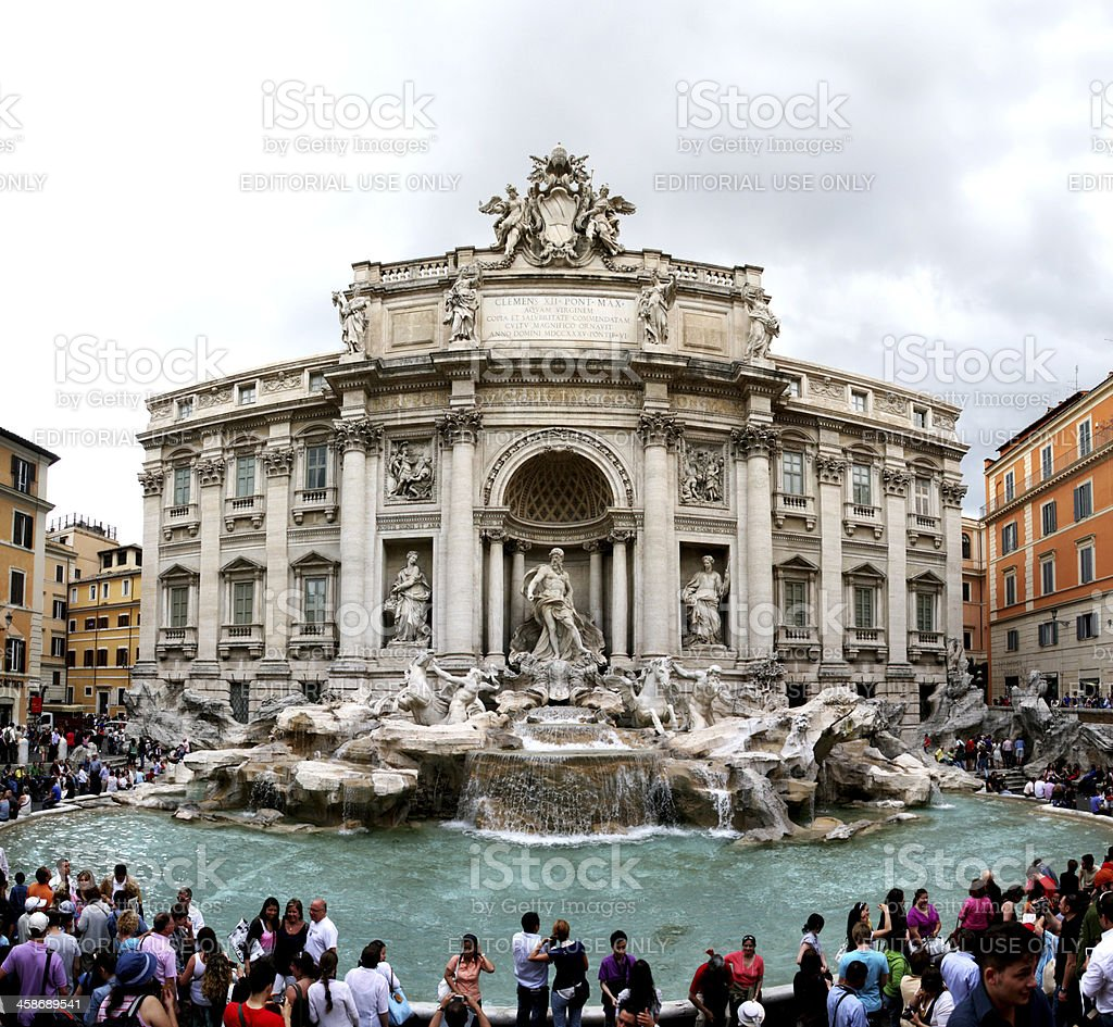 XL, People in Fontana di Trevi, Rome, Italy royalty-free stock photo