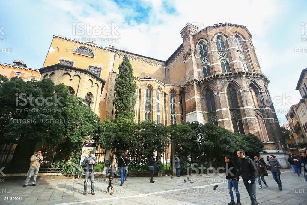People in front of Basilica dei Frari stock photo
