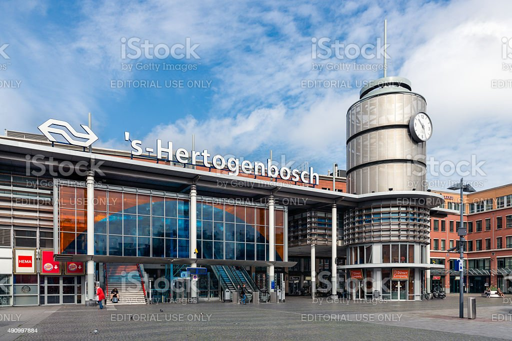 People in front of Dutch railway station Den Bosch stock photo