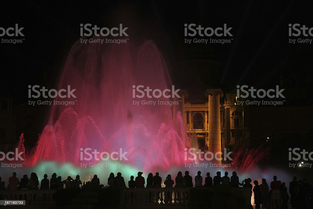 People in front of Magic Fountain, Barcelona royalty-free stock photo