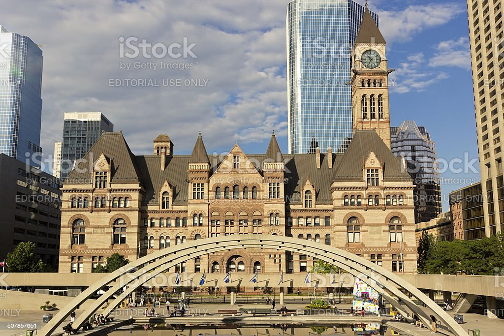 People in front of Old City Hall in Toronto stock photo