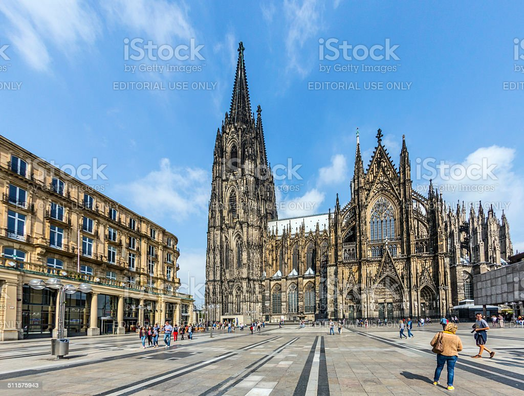 people in front of the Cologne Cathedral in Cologne stock photo