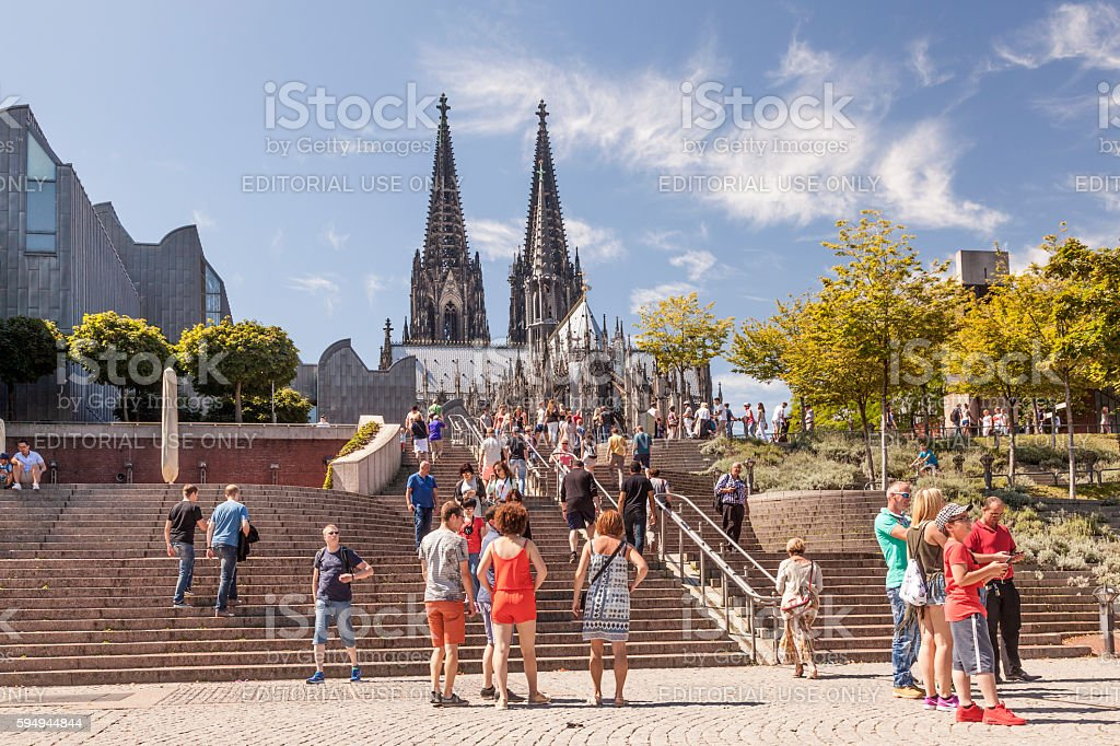 People in front of the Cologne Cathedral stock photo