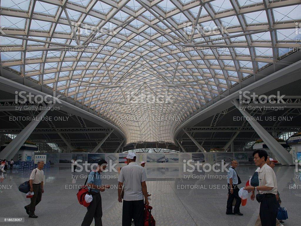 People in Guangzhounan Railway Station, China. stock photo