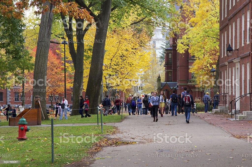 People in Harvard Yard stock photo