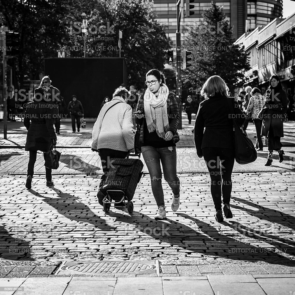 People in Helsinki stock photo