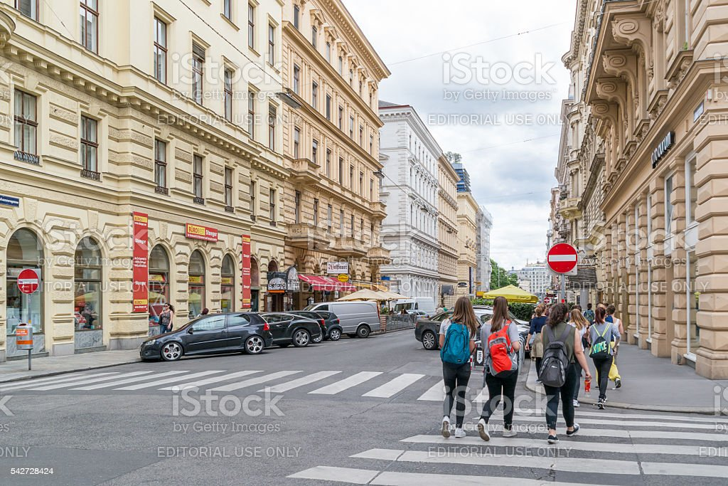 People in Johannesgasse street in downtown Vienna, Austria stock photo