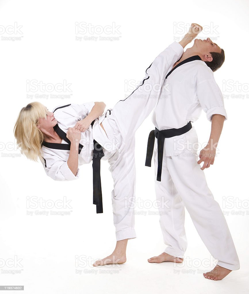 People in kimono fight on white stock photo