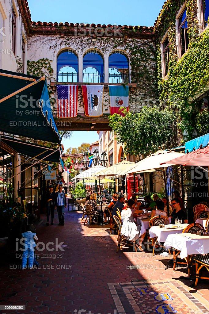 People in La Arcada on Figuerroa Street in Santa Barbara stock photo