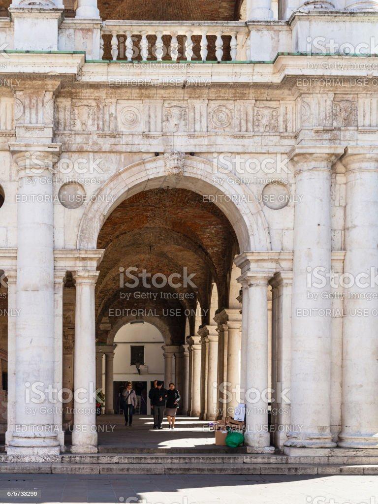 people in loggia of Basilica Palladiana stock photo