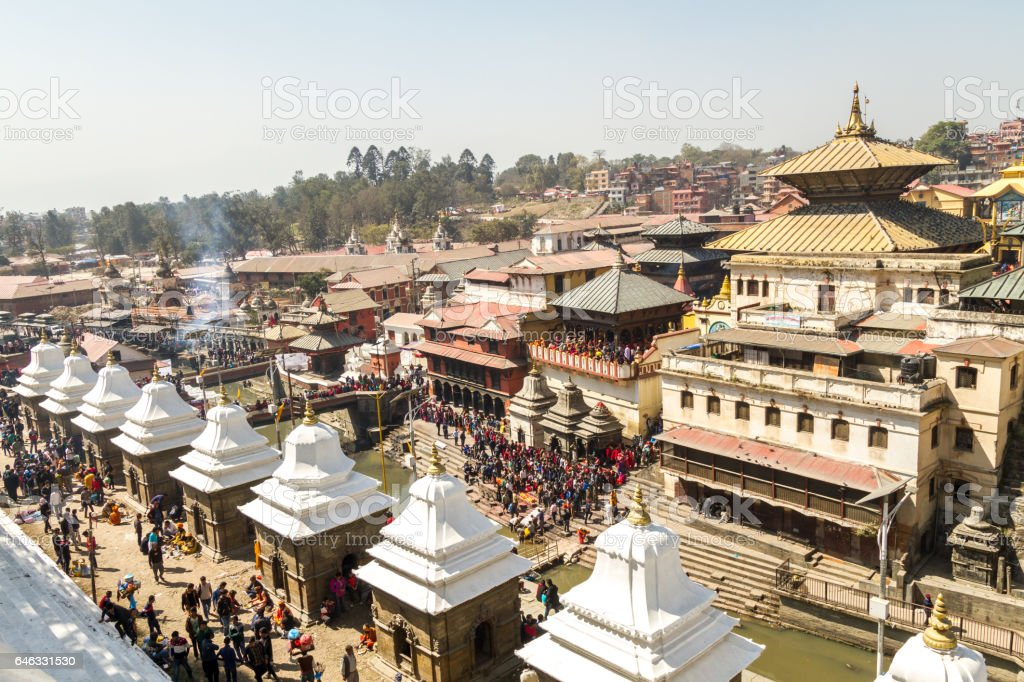People in Mahashivaratri Festival at Pashupatinath Temple stock photo