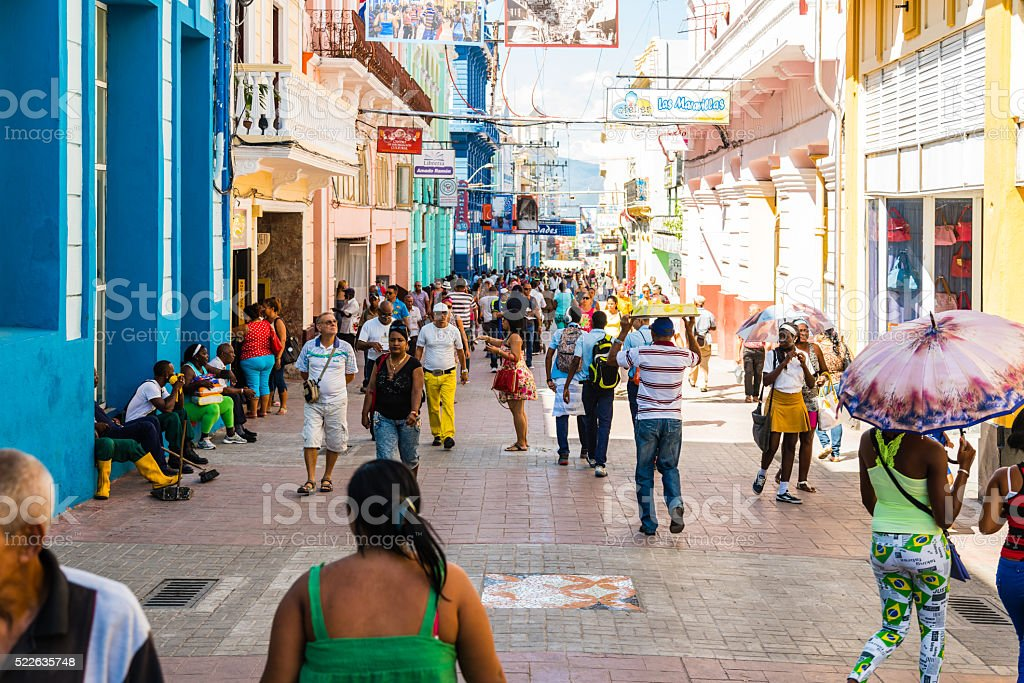 People in main pedestrian street Francisco Vicente Aguilera, San stock photo