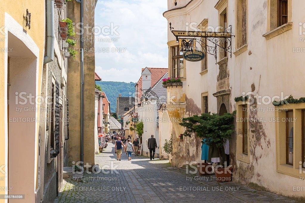 People in Main Street of Durnstein in Wachau, Austria stock photo