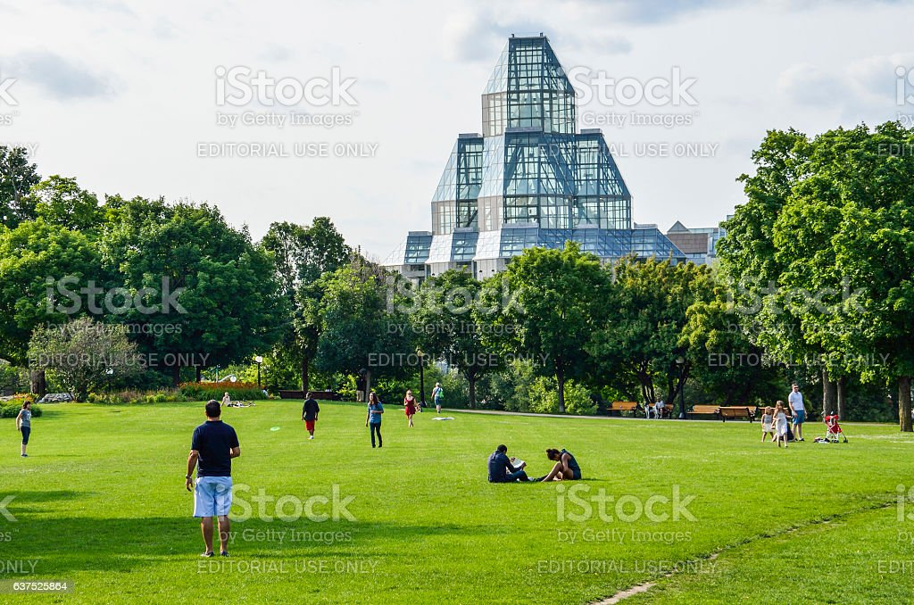 People in Majors Hill Park by National Gallery museum stock photo