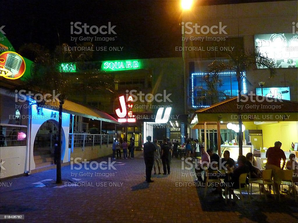 People in Mango Square at night, Cebu City. Philippines stock photo